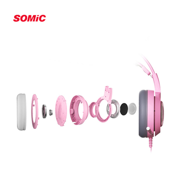 SOMIC G951s PS4 Pink Cat Ear Noise Cancelling Headphones 3.5mm Plug Girl Kids Gaming Headset with Microphone for Phone/Laptop 5
