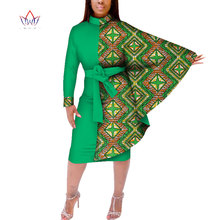 Fashion Autumn African Women Bat Sleeve Dress Traditional Wax Print Dashiki Patchwork for Vestidos WY385