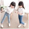 2016 Primavera Outono Cintura Elestic Calças Crianças Meninas Crianças Calças de Brim Causais Jeans Para Meninas leggings de Cor Azul