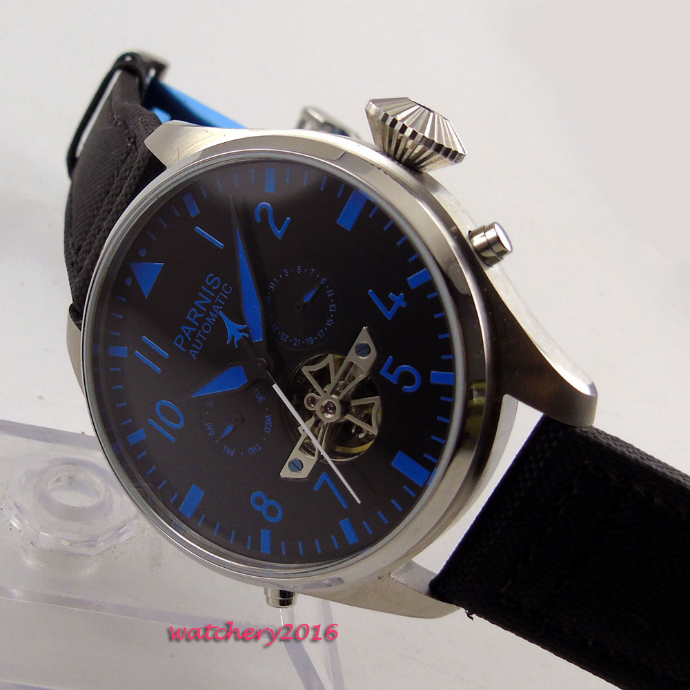 43mm parnis Black dial Blue marks Complete Calendar 2017 luxury brand watch military watches mens in automatic mechanical Watch