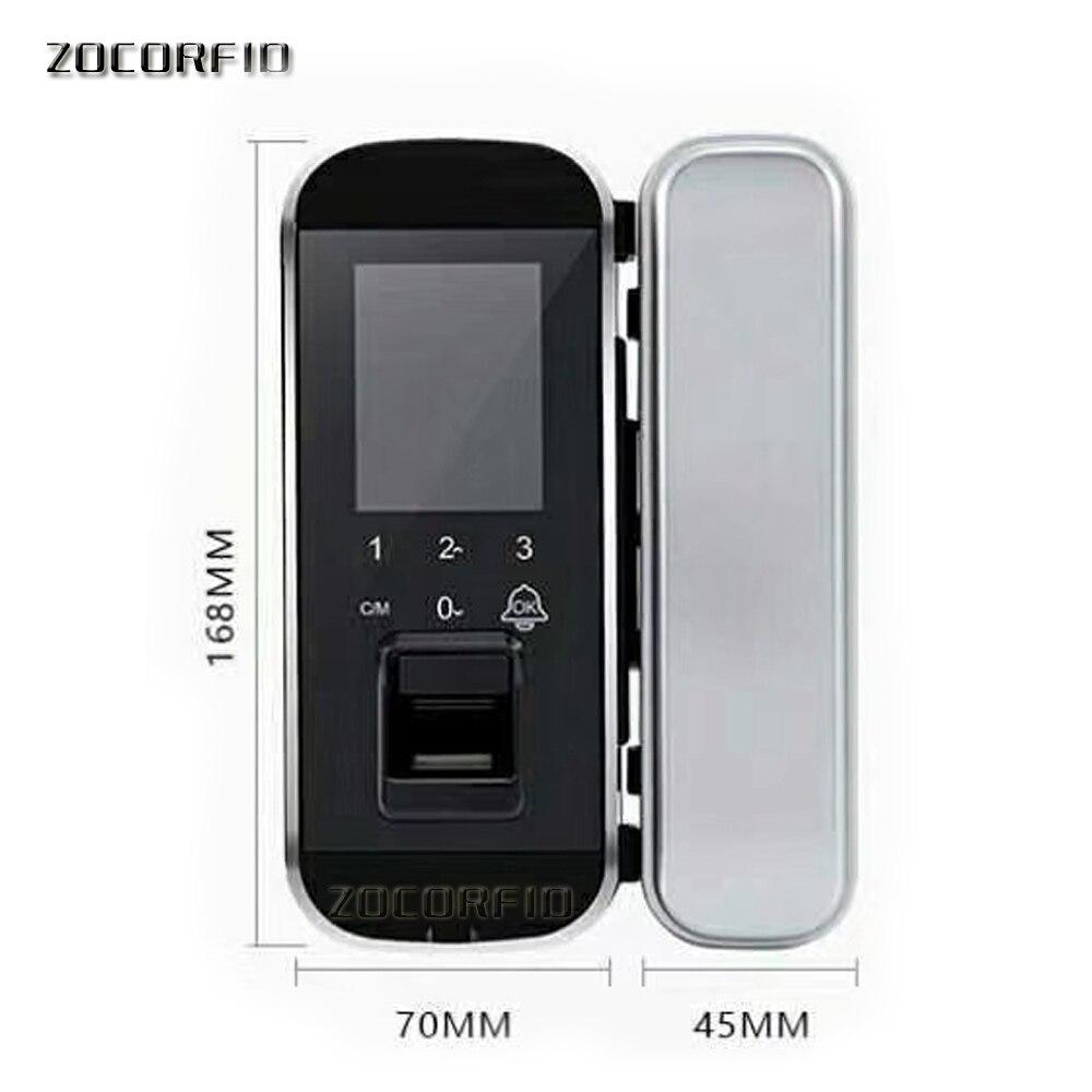 DIY zo gemakkelijk Biometrische Vingerafdruk Deurslot Voor Kantoor Glazen Deur Keyless Met Touch Toetsenbord Afstandsbediening Intelligente Slot - 6