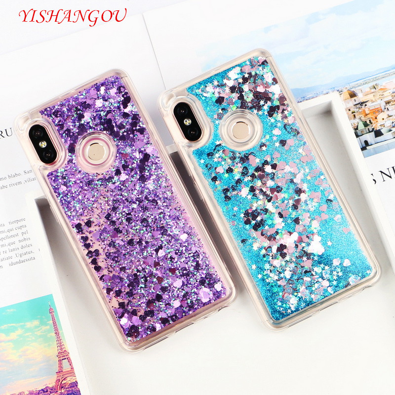 YISHANGOU Glitter Case For Xiaomi Note 5 Pro 4 4X 5A S2 Y2 Liquid Quicksand Star Heart Soft Cover For Redmi 4X 4A 5A 6A 6 5 Plus