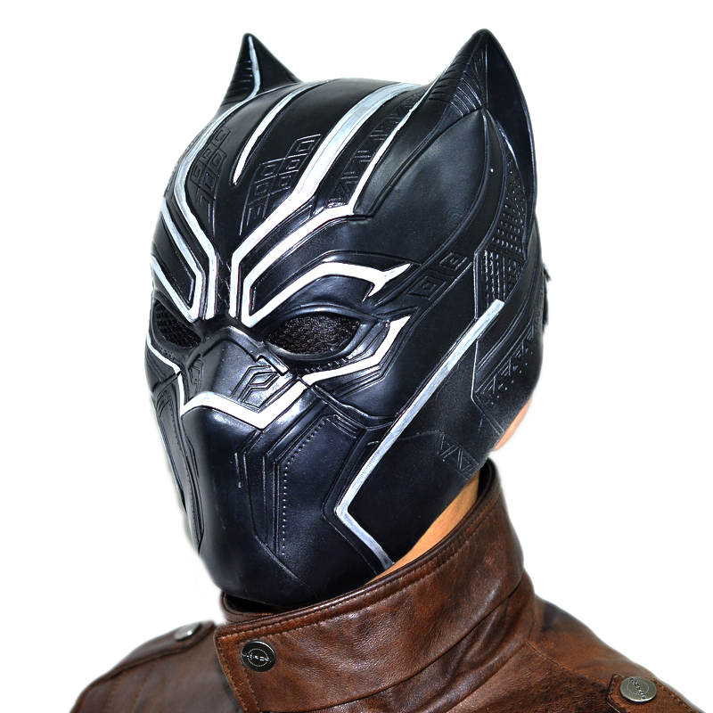 Solid 3D Black Panther Wakanda king T'Challa Masks Movie Fantastic Cosplay Men's Latex Party Mask
