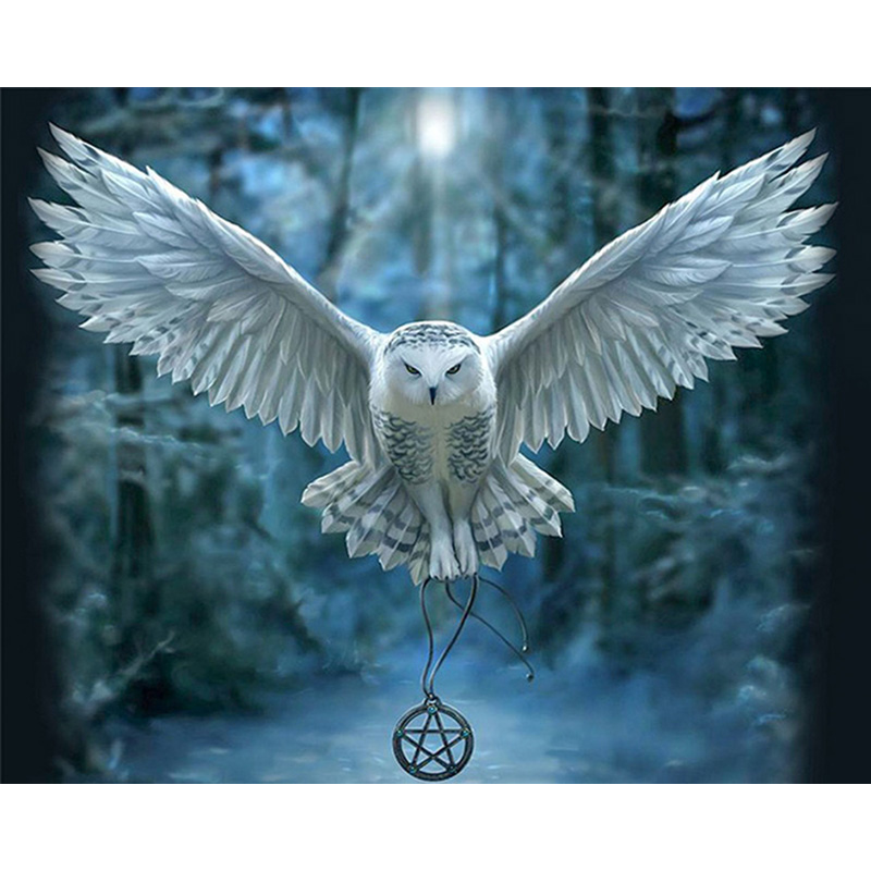 Round Diamond Embroidery Full Scale Fly The White Owl DIY 5D Pictures Of Crystals Diamond Painting Mysterious Natural Animals