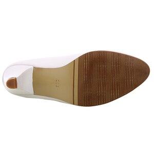 Image 5 - YALNN dojrzałe kobiety pompy wysokie obcasy buty skórzane 5cm med buty wysokiej jakości białe czarne czółenka damskie buty do biura