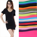 Summer women's candy color medium-long 2014 autumn o-neck short-sleeve T-shirt modal slim girl tops & tees cotton casual fashion