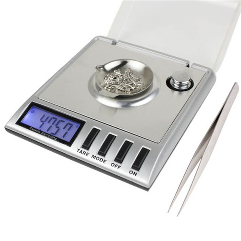 Portable 20g x 0.001g Pocket Digital Scale Tool LCD Electronic Jewelry Diamond Gold Herb Balance Weighting Scales Blue Backlight