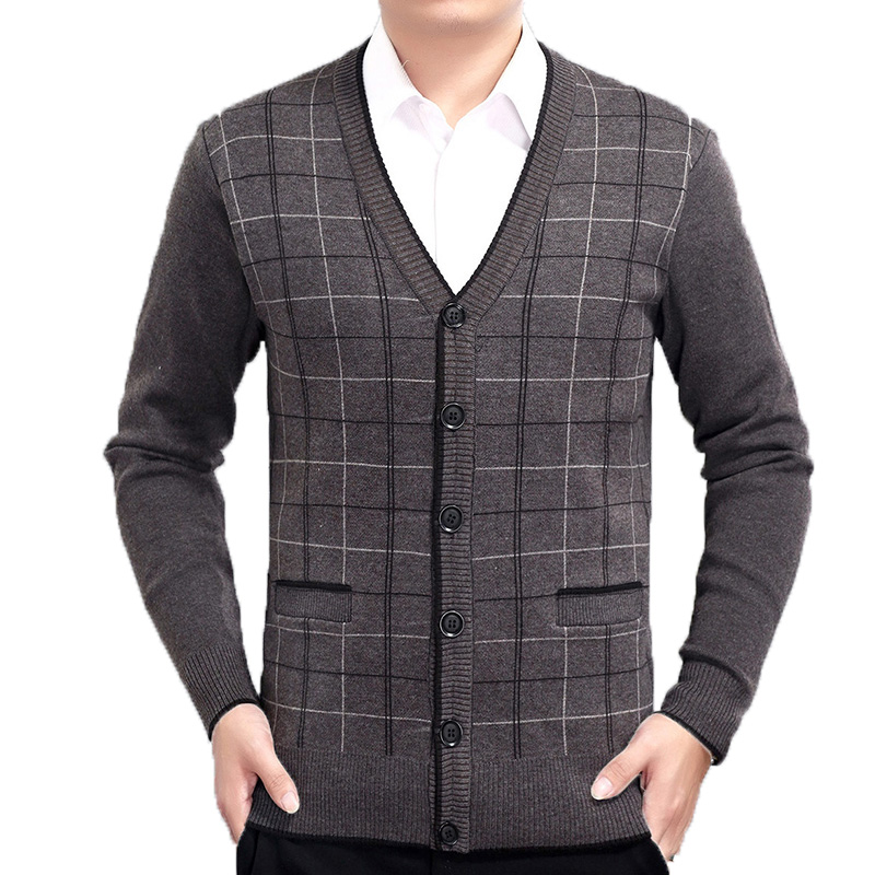 Spring Autumn Men Cashmere Wool Cardigan Sweaters Man Plaid Knitwear Male Burgundy Gray  ...
