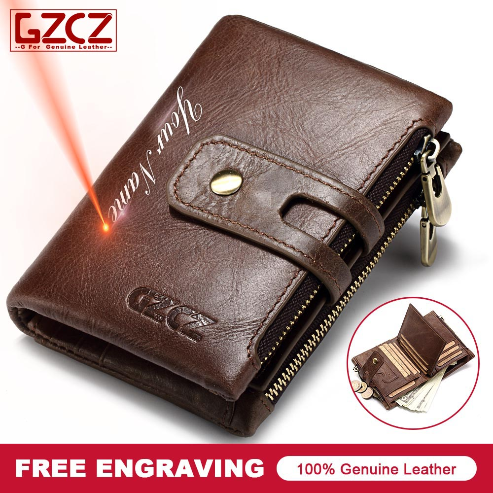 GZCZ New Mens Genuine Leather Short Wallet Buckle Zipper Design Custom Made For Dropshipping Order carteira masculina