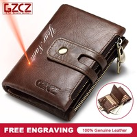 GZCZ New Men S Genuine Leather Short Wallet Buckle Zipper Design Custom Made For Dropshipping Order