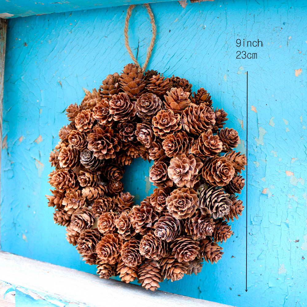 D9 Xmas Pinecone Wreath Handcraft Home Decoration Christmas Wreath Pendent Ornaments Festival Party Hangings Door Hangers