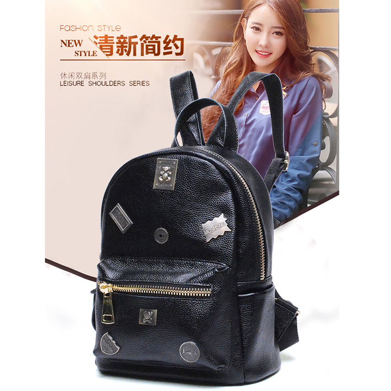 2018 High Quality Genuine Cowhide Leather Women Backpack Preppy Style School Backpack Black Litchi pattern bear badge Women Bag pu leather backpack litchi pattern student bag
