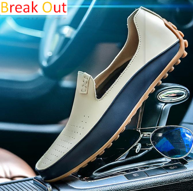 Spring Summer Men's Leather Driving shoe Men breathable Loafers casual Peas leather Moccasins Men Flats For Man large size 36-47 handmade men flats shoes big size 45 46 47 loafers moccasins oxford genuine leather casual driving shoe soft breathable men shoe