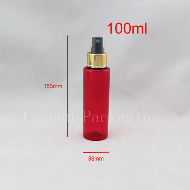 100ml red color sprayer pump plastic bottles 3 5oz empty perfume