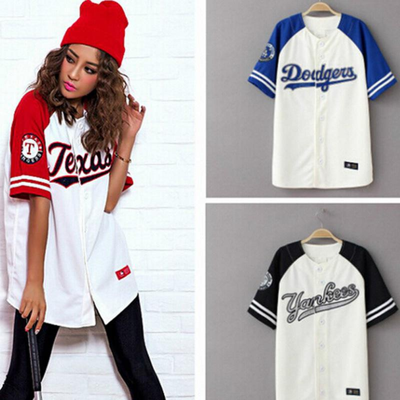 2016 Summer Hip Hop Fashion Baseball T shirt Korean style Loose Unisex long short sleeve women