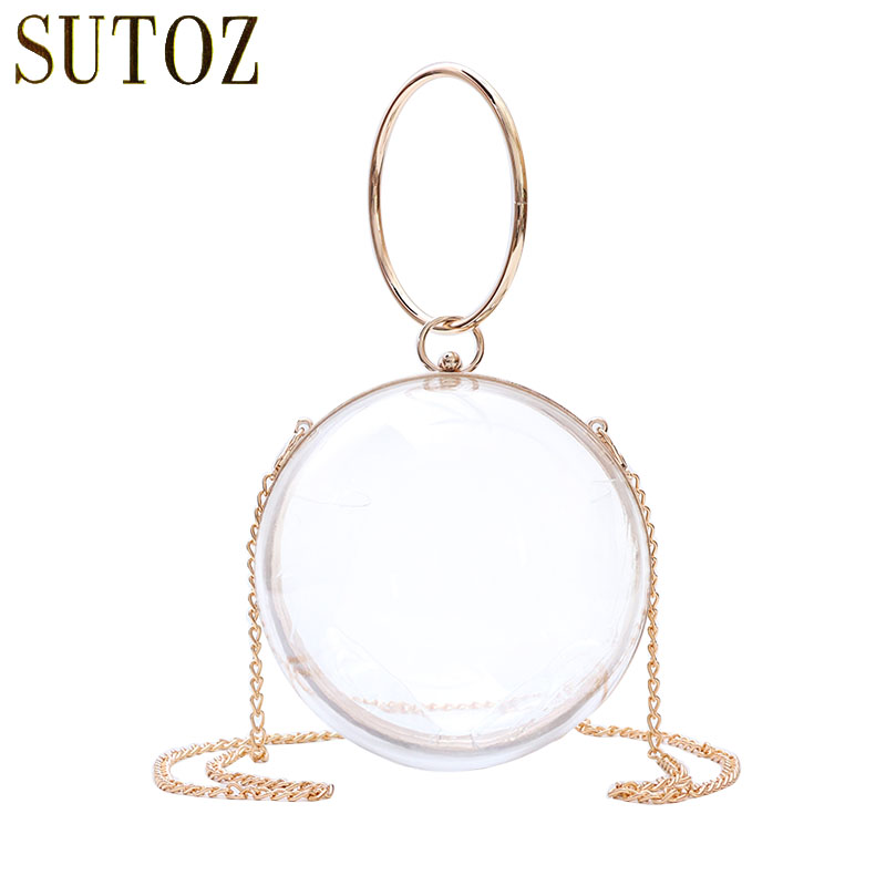 Women transparent acrylic ball handbag Round Shaped Evening clutch bag  Shoulder Crossbody Bags Purse 7cdad8b3d6e3