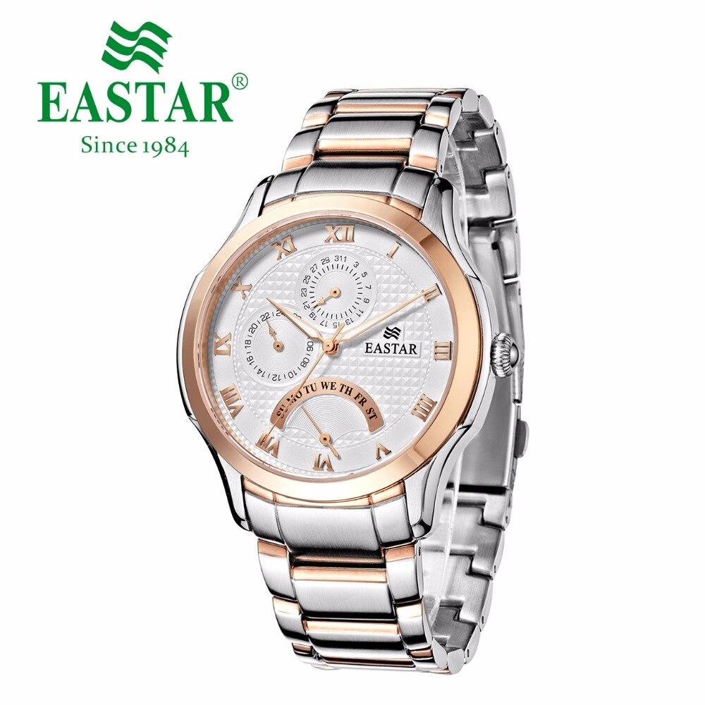Мужские часы с белым циферблатом Eastar Roman number, розовое золото и серебро 30 м, водонепроницаемые кварцевые наручные часы с роскошным браслетом