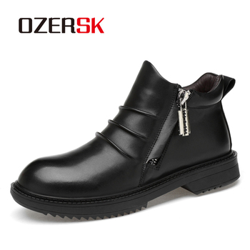OZERSK Genuine Leather Casual Men Shoes Fashion New Autumn Winter Casual Ankle Boots Warm Winter Fur Man Snow Boots Footwear