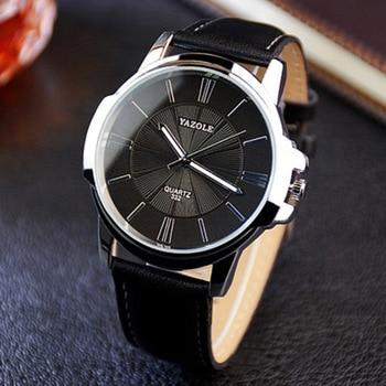 2e4801f0fc8d YAZOLE 2019 moda reloj de cuarzo relojes de hombres superior de la marca de  lujo de hombre de negocios reloj de cuero impermeable romano reloj Erkek  Kol ...