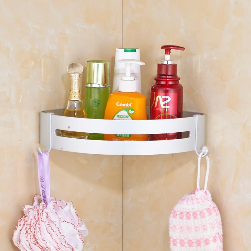 Space Aluminum Bathroom Corner Shelf Silver Double Layers Cosmetic ...