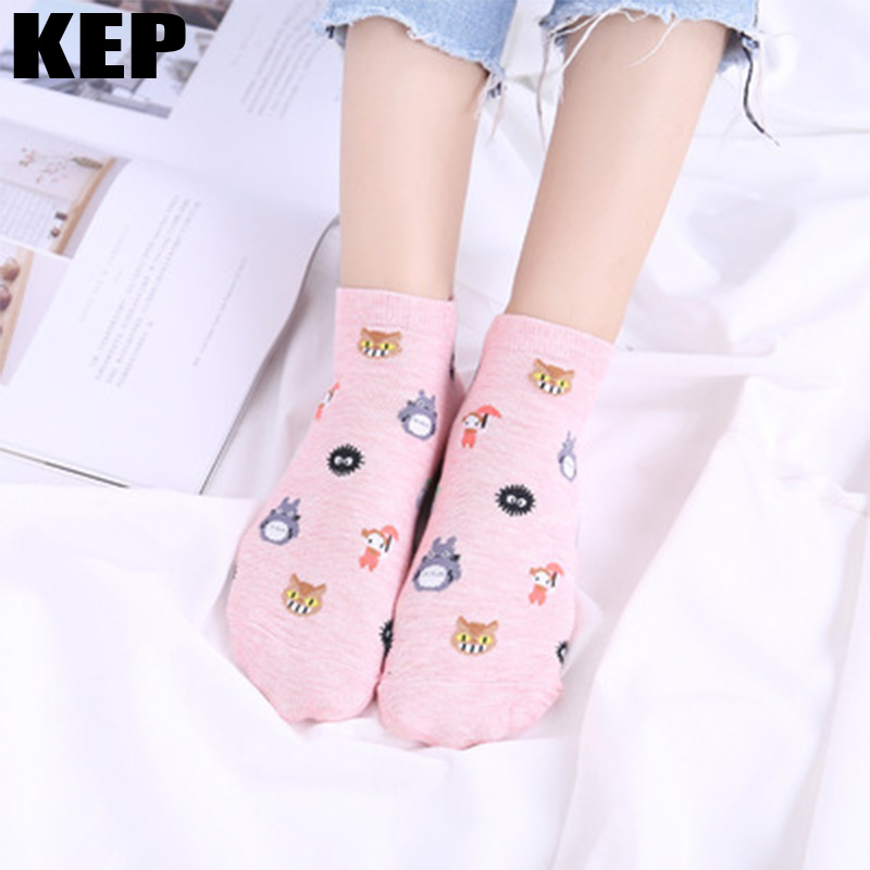 New Summer Cute Cotton Cartoon Spirited Away Ghibli Miyazaki Anime Women Socks Totoro Funny Lovely Candy Color Breathable Socks