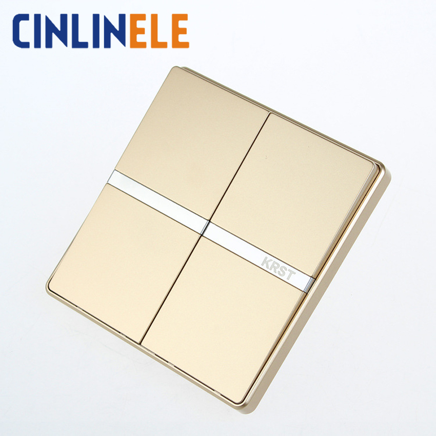 Luxury Wall Switch 2 Gang 1 Way Ivory GOLD Brief Art Weave Light Switch AC 110~250V  10A No border design 86mm * 86mm kempinski wall switch 3 gang 1 way light switch champagne gold color special texture c31 sereis 110 250v popular