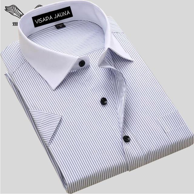 Мужская мода Рубашка С Коротким Рукавом Повседневная Социальная Мужской Рубашки Мужской Полосатый Рубашки Высокого Качества 2017 Лето Camisa Masculina N1077