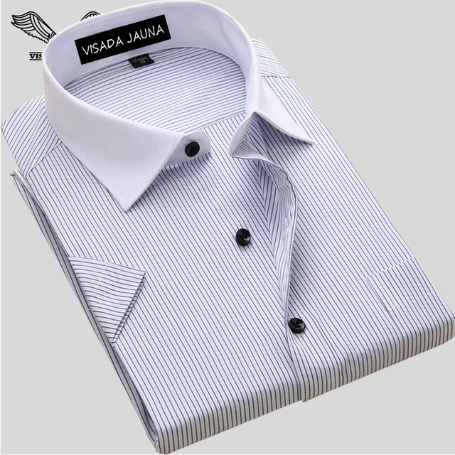 Los Hombres de moda Camisa de Manga Corta Ocasional Masculina Camisas de Vestir Camisa de Rayas Masculina Social de Calidad Superior 2017 Del Verano Camisa Masculina N1077