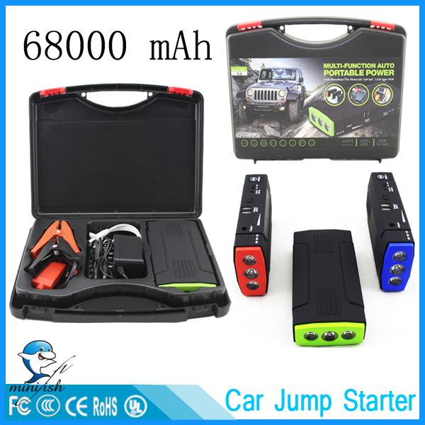 MiniFish Best Selling Products 68000mAh Batteries Charger Portable Mini Car Jump Starter Booster Power Bank For