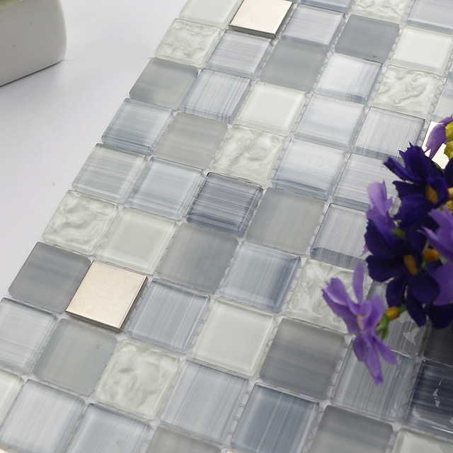 Blue Glass Shower Tile aliexpress : buy mediterranean blue glass mixed stainless