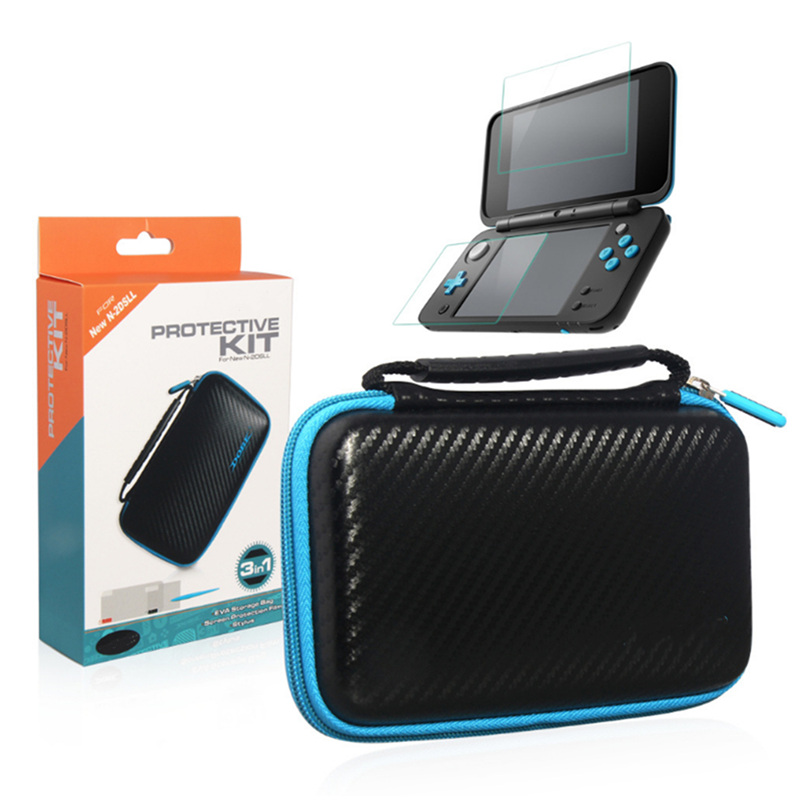 3 In 1 Accessories Set For Nintendo New 2DS XL/LL EVA Carrying Protective Case Bag + Screen Protector + Stylus For New 2DS LL new high quality aluminium metal skin protective hard case cover full housing case for nintendo for new 3ds xl ll console