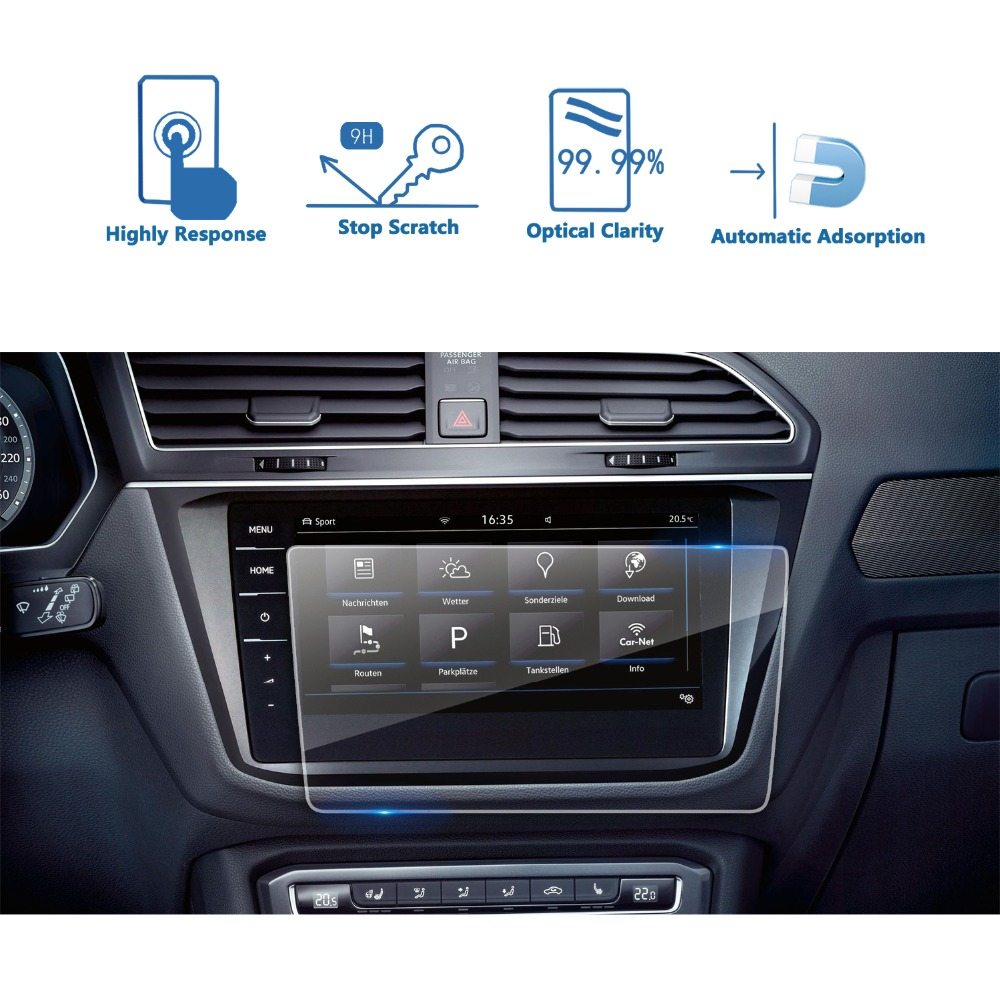 RUIYA protetor de tela de vidro temperado para Volkswagen Tiguan/Tiguan VW II GTE Allspace Descobrir Pro 9.2 de navegação do carro da polegada tela