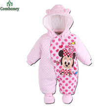 Minnie Mouse Baby Romper Cartoon Winter Coverall Boy Clothing Infant Overcoat for Girl Warm Jumpsuit Bebes Newborn Clothes
