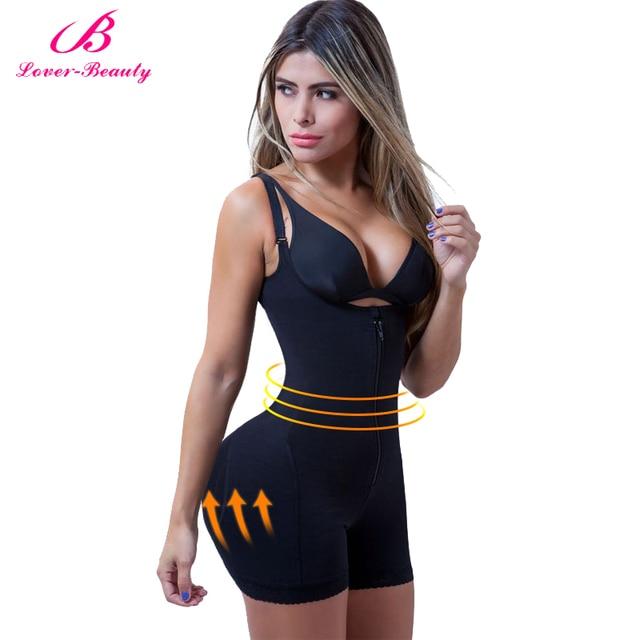 Lover güzellik Fajas Reductora fermuar ve klip lateks bel eğitmen firma kontrol vücut Shapewear Bodysuit Butt kaldırıcı şekillendirme