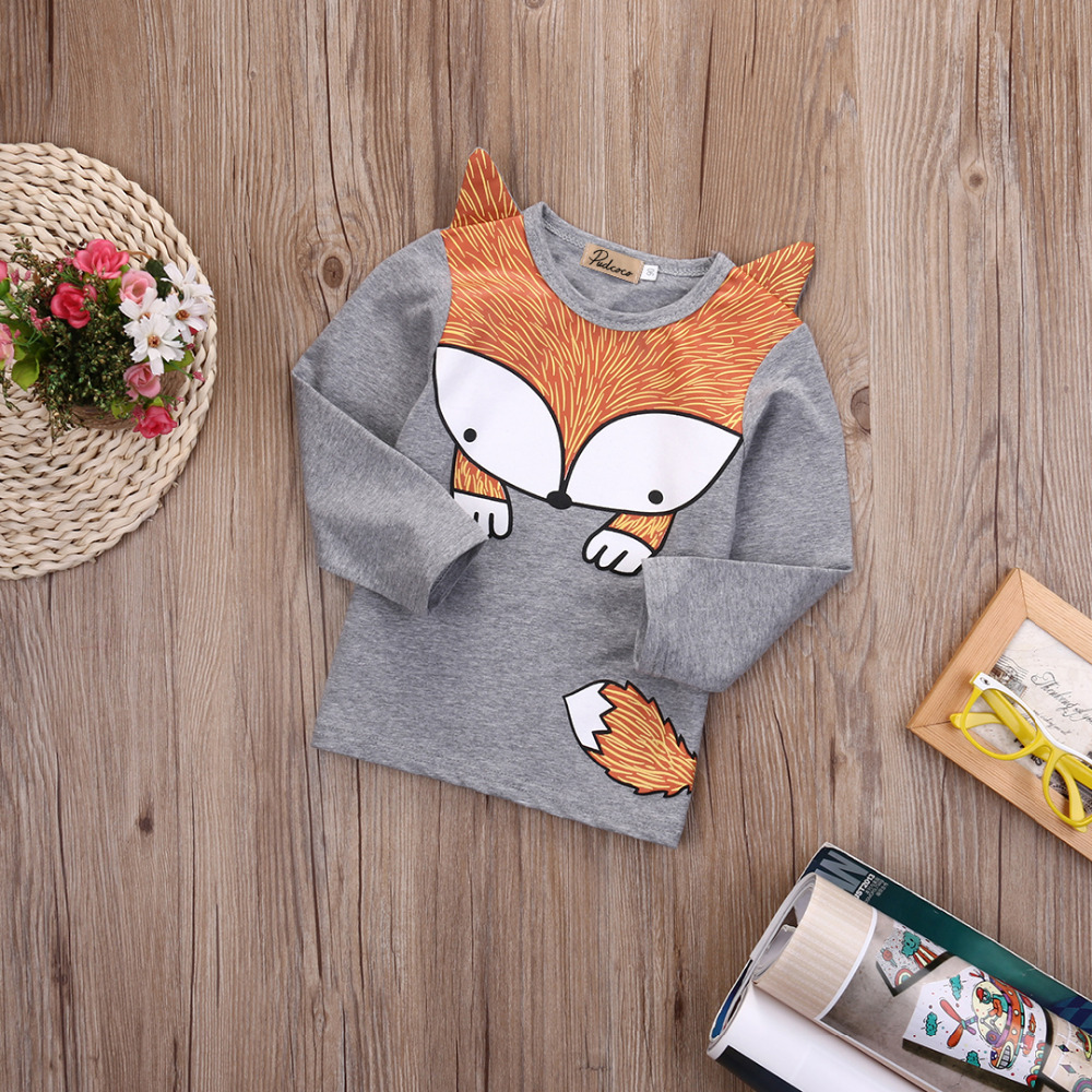 Newborn-Baby-Girls-Boys-Fashion-Loose-Grey-Cotton-Cartoon-Long-Sleeve-Fox-T-Shirt-3