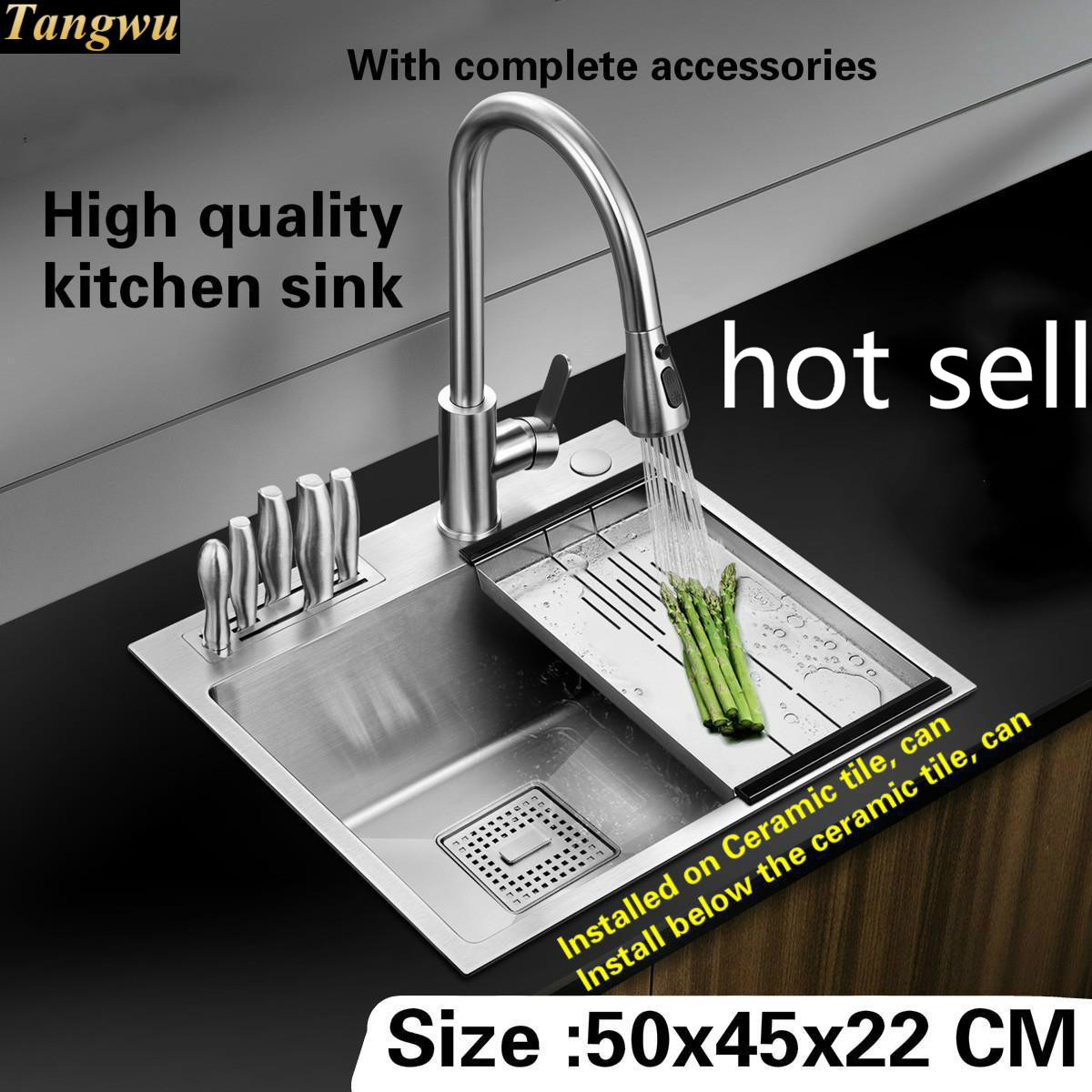 Tangwu High quality food grade 304 stainless steel kitchen sink 4 mm small single slot by hand durable 50x45x22 CM
