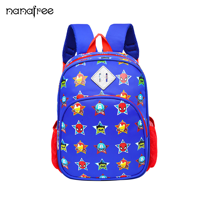 Nanafree 2018 New Hot Sell cartoon school bag kids lovely Surper Men Nylon backpacks Cute Kids boys spiderman schoolbags ...