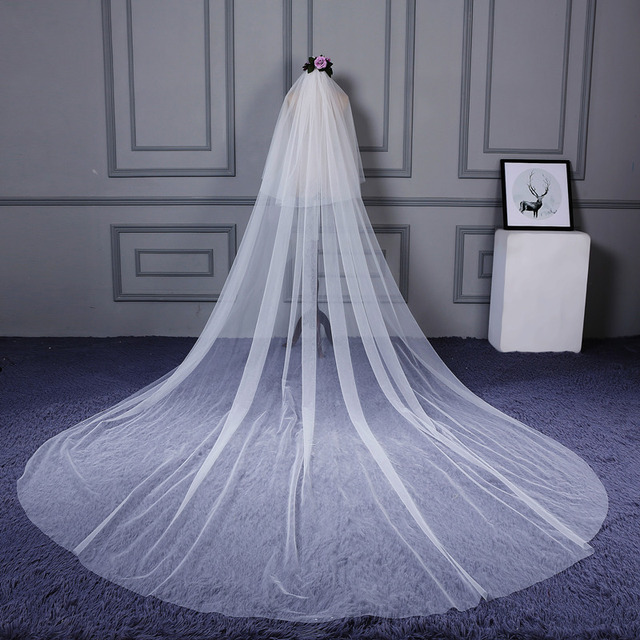 High Quality 3 m long 2 Tiers Cover Face Cathedral Wedding Veil with Comb New Bridal Veil