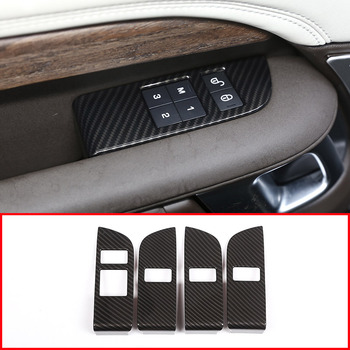 4pcs Carbon ABS Chrome Car Child Safety Door Lock Switch Panel Cover Trim For Land Rover Discovery 5 LR5 L462 2017 2018