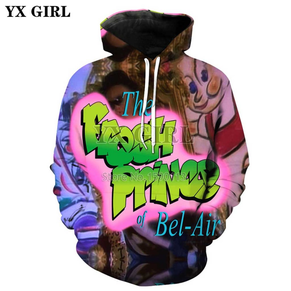 YX GIRL 2018 New Fashion Hoodies The Fresh Prince Of Bel Air 3D Print Hooded Sweatshirt Will Smith Casual O-Neck Pullovers