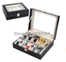 Standard 10 Grids Brand Watch Display Box Black Leather Watches Box Upscale Solid Watch And Jewelry Gift Cases D208