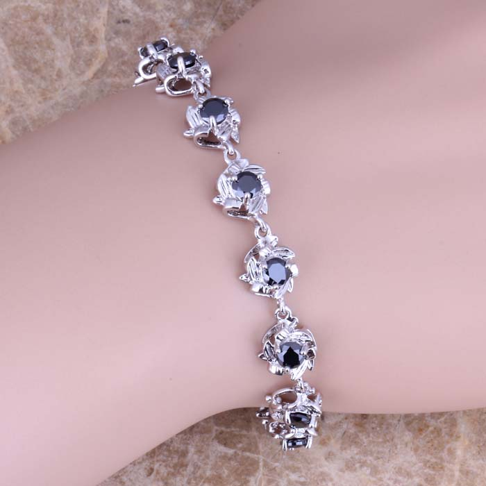 Tantalizing Black Cubic Zirconia 925 Sterling Silver Link Chain Bracelet 7 - 8 inch S0551 titanium steel link cubic zirconia studded couple bracelet