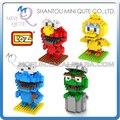 Mini Qute 4 estilos loz 3d kawaii Sesame Street Elmo bloque cubo de plástico del bloque hueco del ladrillo figuras de acción juguetes educativos juego
