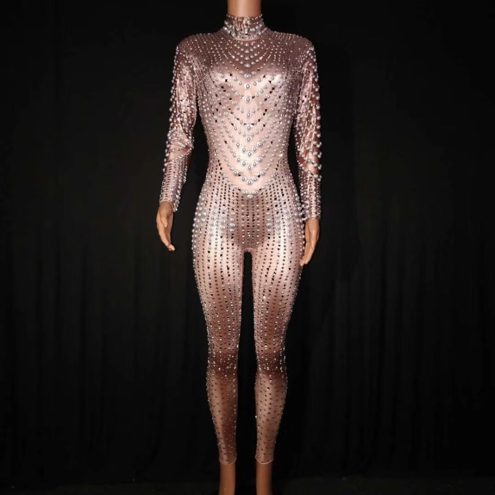 Bright Pearls Crystals Mesh Jumpsuits Sexy Rhinestones Perspective Bodysuit Stage Dance Wear Celebrate Shining Costume DJ1014
