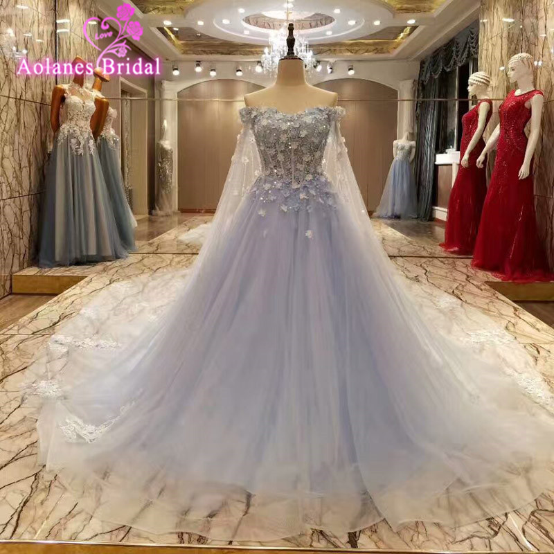 Sleeveless Light BLue Evening Dresses Ball Gowns Tulle With Flowers Lace Appliques Abendkleider 2017 Abiti Da Cerimonia Da Sera