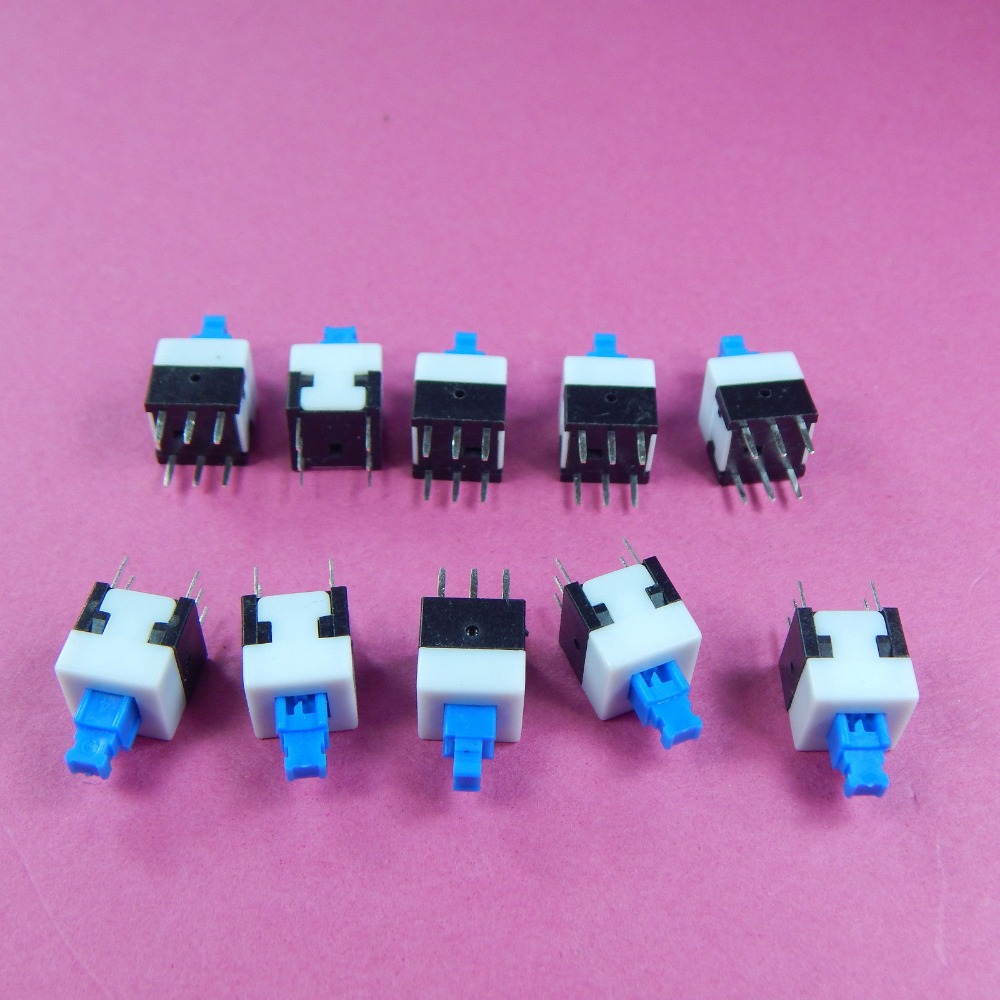 100PCS/Lot 8*8mm Self-locking Type Square Button Tactile Push Button Switch Momentary Tact DIP Through-Hole 6pin tn2ss rotary button switch gear selection type 2 22mm with self locking