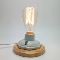 E27 110V 220V Industrial Retro Vintage Edison Table Lamp Dimmer Switch Ceramic Wood Desk Lamp With