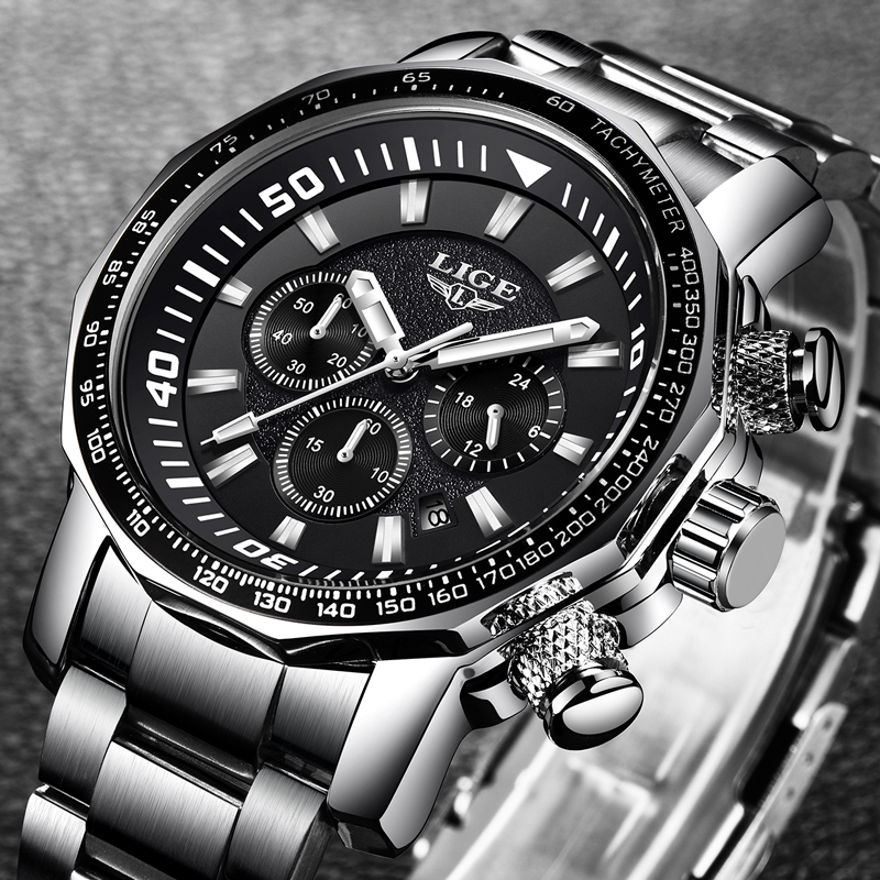LIGE Military Waterproof Men Watches Business Fashion Top Full Steel Quartz Watch Men Sport Casual Watch Relogio Masculino + Box