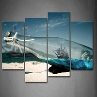 Framed Wall Art Pictures Boat Glass Bottle Beach Canvas Print Art Posters With Wooden Frames For Home And Office Decor