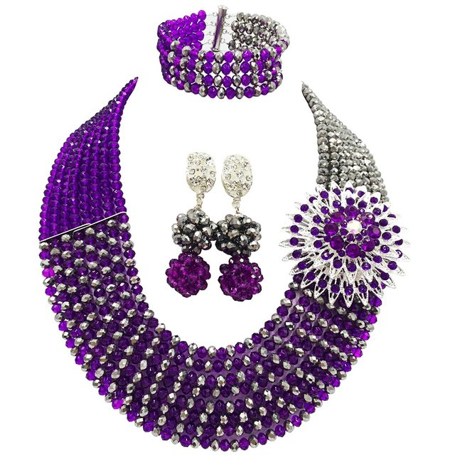 Fashion Purple and Silver African Wedding Beads Necklace Jewelry Set Crystal Jewelry Sets 8JBK09